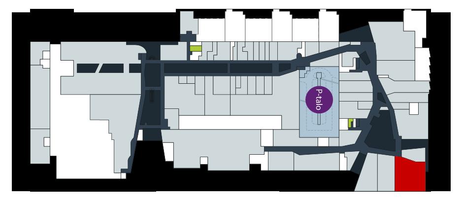 Pohjakuva Ison Omenan kauppakeskuksen toisesta kerroksesta.