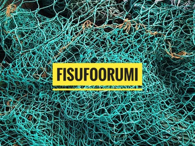 Sinisen kalaverkon päällä keltaisella teksti fisufoorumi.